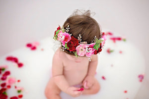 Pink, Red and Rose Gold Valentine's Day Full Floral Crown with Satin Tie Back