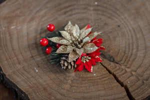 Gold Poinsettia with Pine Cone Christmas Floral