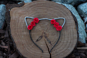 Ready to Ship White Pearl and Red Roses Cat Ears