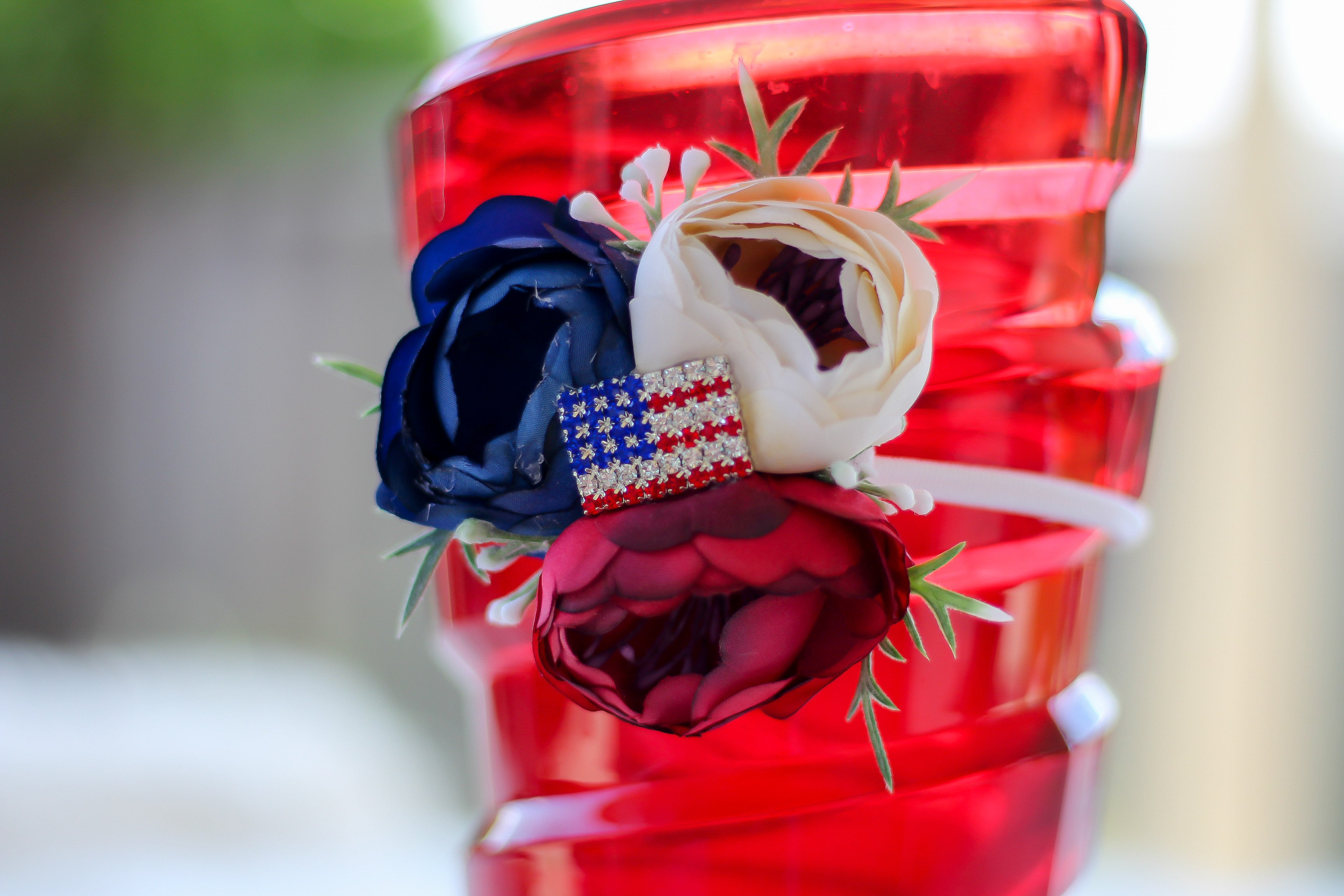 Americana Red White Blue Floral