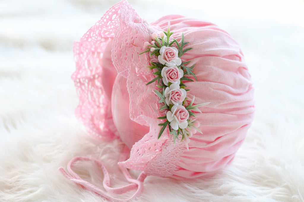 """Ann"" Sweet and Dainty Pink Bonnet with Pink Flowers"