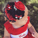 """The Callie"" Red and Black Lace Floral"