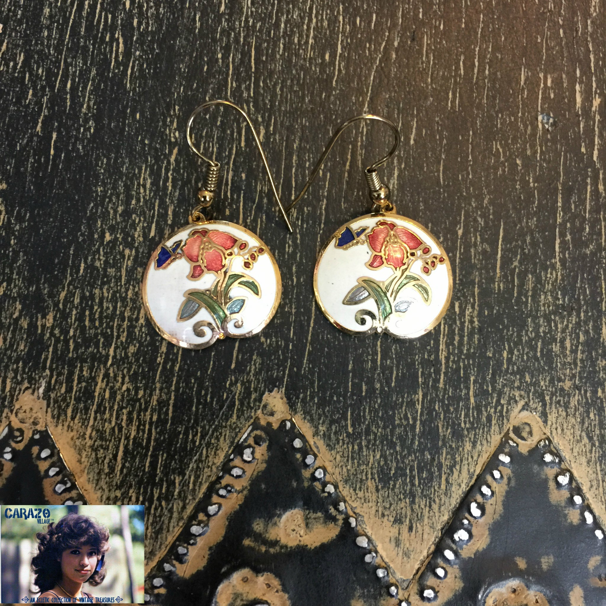 copper glass accent product earrings painted hand colored