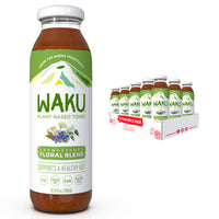 Waku Iced Tea - Unsweetened Floral Blend - All Natural Herbal Tea Brewed With Mint, Lemon Balm, Lemongrass, Fennel, Chamomile - Gut Health Support, Immunity Support - 10oz Bottles