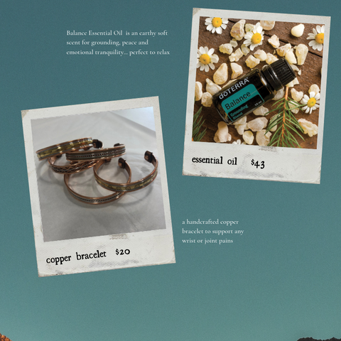 essential oil $42, copper bracelet $20