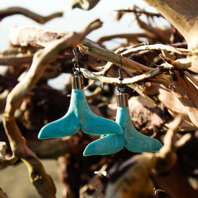 Whale Tail Earrings - Upcycled Breadtags