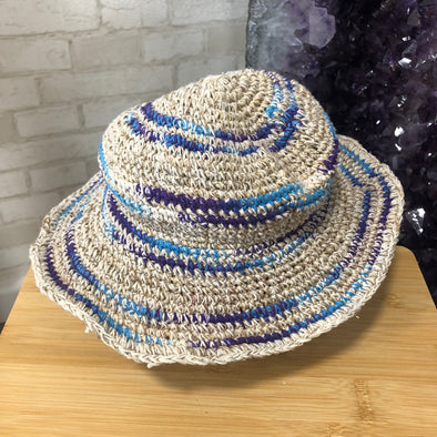Hemp Cotton Hat - Crochet Blue + Purple Detail-Your Self-Awaken Store