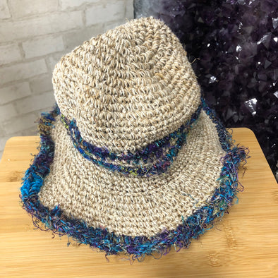 Hemp Cotton Hat - Blue Silk Detail