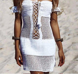 Sexy mini knitted lace up dress,  see size chart,
