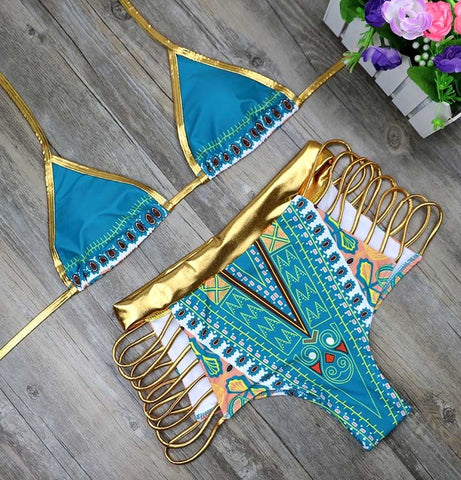 sexy colored printed high waist bikini set,  Beachwear, swimsuit, sexy bikini, alaganza.com