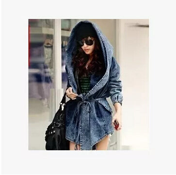Trendy asymmetric hooded denim coat,  Fall fashion,