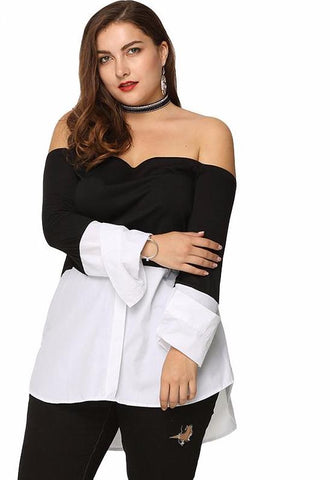 Casual and sexy off shoulder blouse,  curvy fashion, plus size,