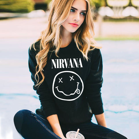 Polyester,  Nirvana Printed basic casual street style sweater   autumn, winter,  Fits true size