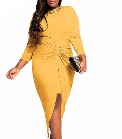 Sexy and elegant midi bow dress with front split,  Curvy fashion, plus size,