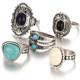 5 Pcs/Set Antique Silver Color Bohemian Midi Ring Set.  Vintage Steampunk Anillos Knuckle Rings.