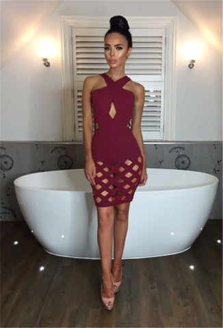Sexy hollow out bandage dress, party dress