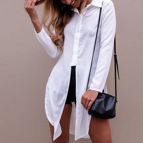 Casual long front split blouse,  Fall fashion, alaganza.com