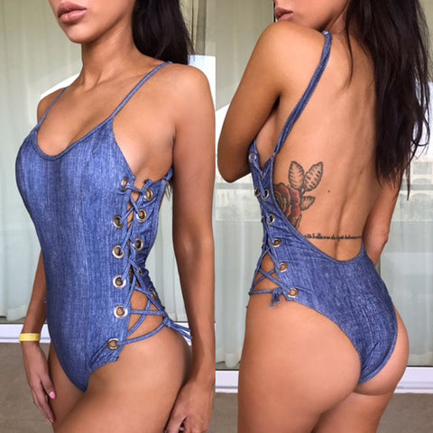 Sexy backless lace up swimwear, bodysuit