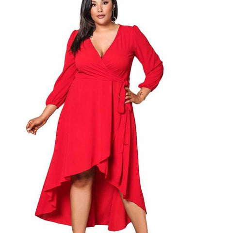 Sexy and elegant asymmetric ruffle dress,  Curvy fashion, Plus size,