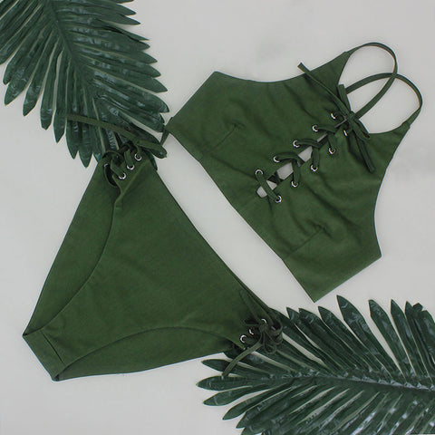 Sexy lace up bikini set  beachwear, swimwear
