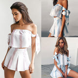 Casual off shoulder bowtie set, two piece set  Fast & free shipping to the U.S.