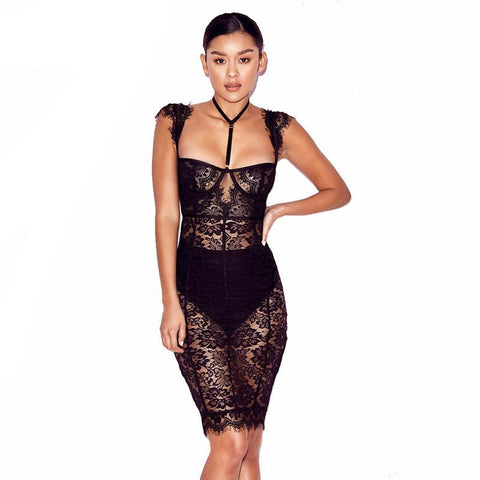Sexy see trough lace dress,  Club wear, part dress,