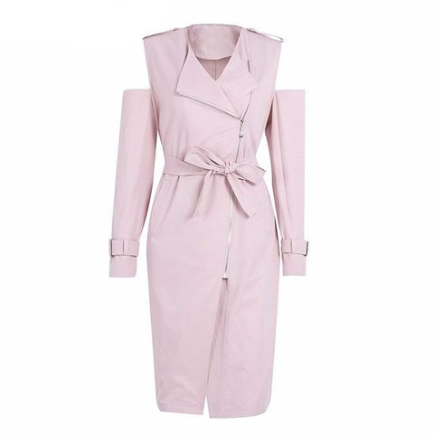 Hollow Out, Pockets, Sashes, Zippers Casual, Zipper Woven Polyester, Nylon, Cotton Turn-down Collar  Casual pink cold shoulder long coat