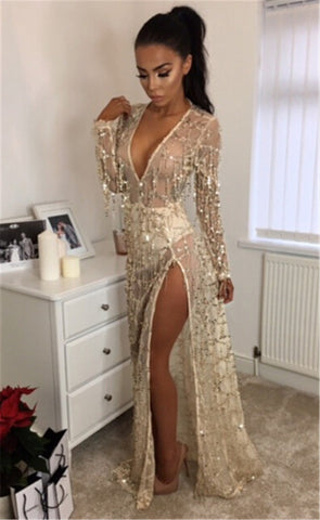Long sleeve sequined maxi dress, evening dress