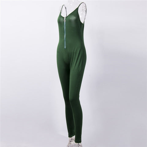 sexy slim Jumpsuit, with zipper décolleté,  Fits true size,   Cotton,Polyester, Skinny,Jumpsuits & Rompers,alaganbza.com
