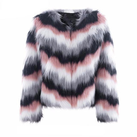 Elegant colored faux fur coat,  winter, fall fashion,