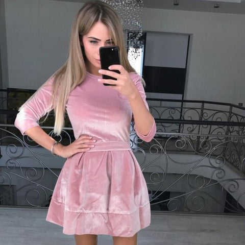 Sexy and cute mini velvet dress,  Fall fashion,
