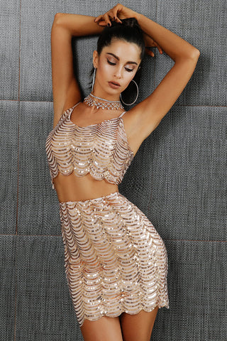 Sexy sequined matching set,  cropped top + mini skirt,