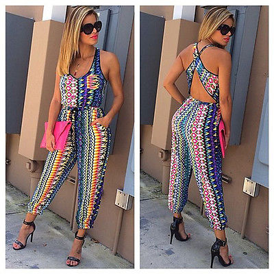 Casual geometric colorful jumpsuit,  see size chart,