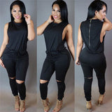 Sexy and casual hole knee jumpsuit,
