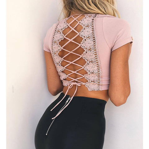 Sexy and cute lace up backless top, cropped top, beach wear
