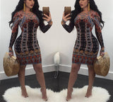 Long sleeve dashiki dress,