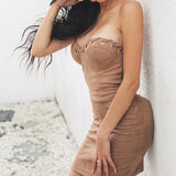 Mini strapless suede dress,