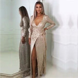 Sexy and elegant long sleeve sequined maxi dress, evening dress