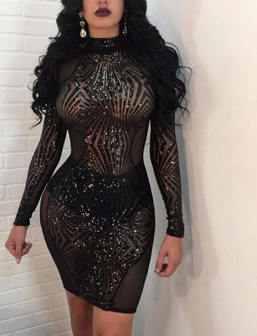 sexy sequin see through dress, party dress