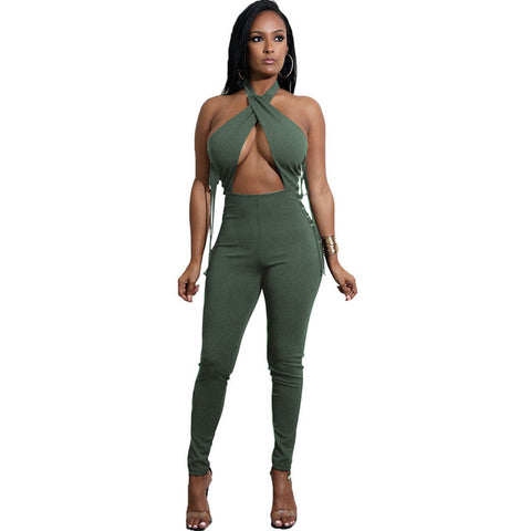 Sexy criss cross lace up jumpsuit, club wear