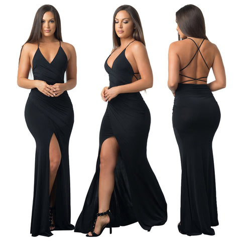 Sleeveless wrapped long split dress,   FAST AND FREE SHIPPING TO USA 2-7 DAYS
