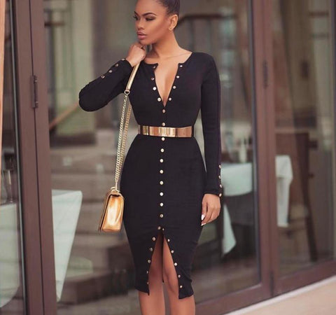 Long sleeve knitted button down dress,