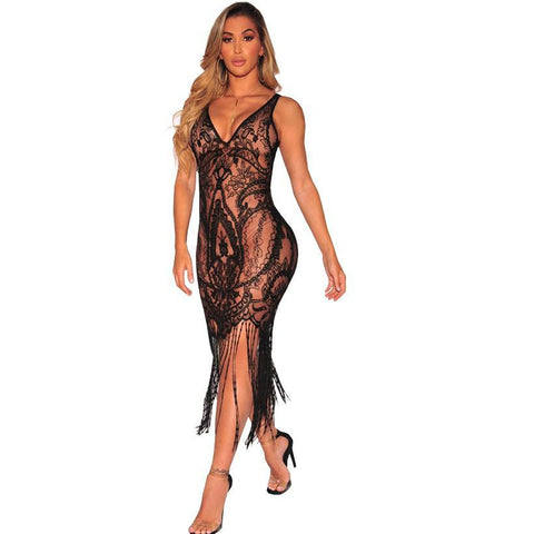Luciana see through tassel dress