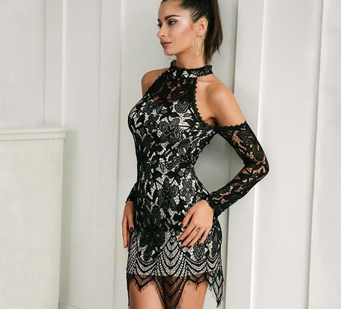 Sexy cold shoulder lace dress, party dress