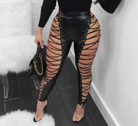 Sexy lace up PU leather pants, club wear