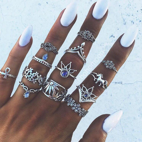 13pcs/ Bohemia Antique Silver set rings. Knuckle ring set.