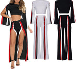 Casual striped double slit set