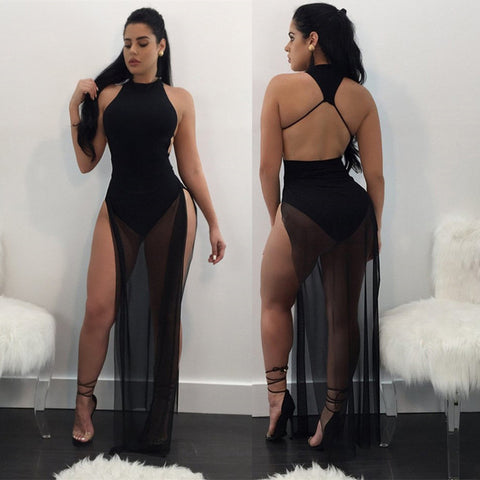 Backless see through double split dress, summer dress