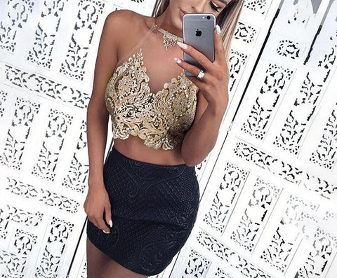 Sleeveless cropped embroidery top, mesh top, club wear, party outfit