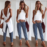 Casual sleeveless asymmetric top